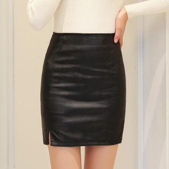Step Leather autumn New style high-waisted Qiudong half-length skirt dress (Black)