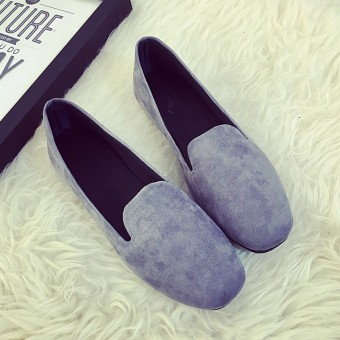 Suede spring and summer New style square head shoes (Gray)