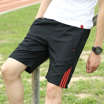 Summer big pants running pants shorts (Black Red Bar)