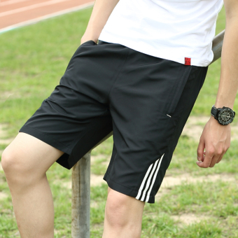 Summer big pants running pants shorts (Black White Bar)