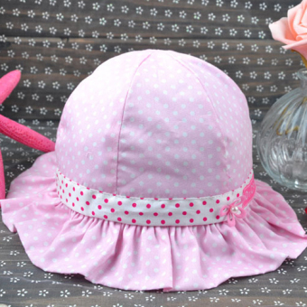 Summer clearance baby hat female baby princess hat cap spring and autumn sun hat 6-18 a month sun bucket hat tide (Pink Dot small flower)