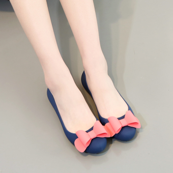 Summer female open toed rubber flat sandals gel shoes (A-7 blue) (A-7 blue)