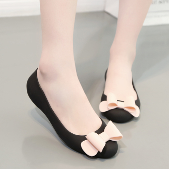 Summer female open toed rubber flat sandals gel shoes (Black a-7) (Black a-7)
