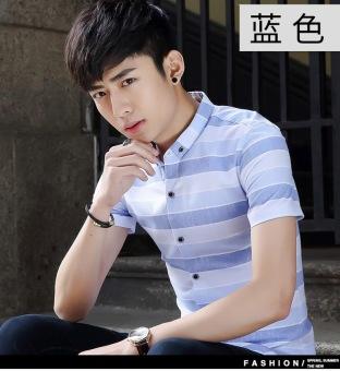 Summer new men's striped shirt short-sleeved slim Korean version of cotton-inch FIR young casual shirt