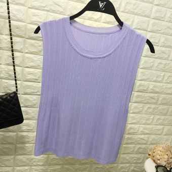 Summer new womens solid color thin section of ice silk knit vest bottoming  shirt round neck