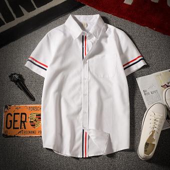 Summer popular men's short-sleeved shirt youth fashion tide-inch shirt Slim fit models Korean-style casual striped Short sleeve shirt