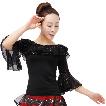 Summer square dance clothing Top (Black Top)