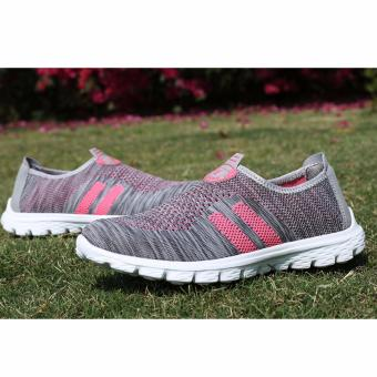 Summer Women Fashion Shoes Breathable Flat Sneakers (Grey and Pink)- intl