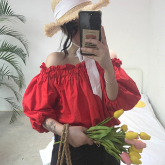 Summer women's fashion Korean-style small fresh word collar horn sleeve shirt off-the-shoulder plaid striped shirt Top tide (812 red)