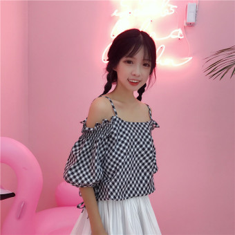 Summer women's fashion Korean-style small fresh word collar horn sleeve shirt off-the-shoulder plaid striped shirt Top tide (9118 black)