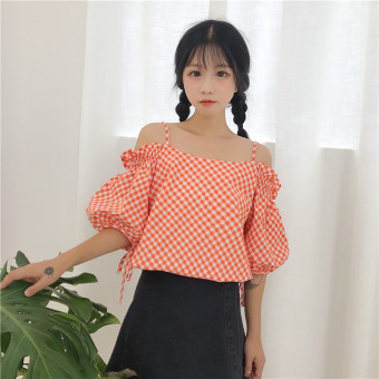 Summer women's fashion Korean-style small fresh word collar horn sleeve shirt off-the-shoulder plaid striped shirt Top tide (9118 orange)