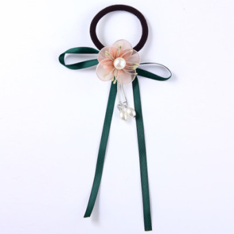 Super cents antiquity princess children's tassel hair accessories Korean Pearl flowers small girl girls hair tie hair tousheng (Pearl flower models green)