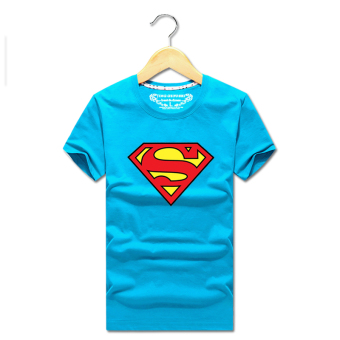 Superman T-shirt Short sleeve clothes summer men's short-sleeved t-shirt round neck loose men's bottoming shirt casual student class service (Sky blue color version2)