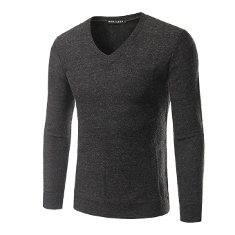 Sweater New style men's V-neck wool coat long-sleeved sweater (Dark gray color)