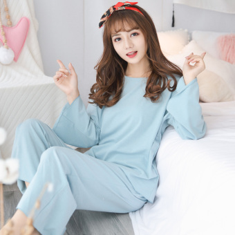 Sweet beauty Spring and Autumn cotton long-sleeved tracksuit pajamas (911 blue)