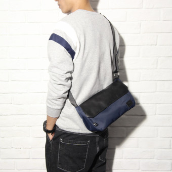 Ulzzang Japanese-style shoulder zip men's travel small bag backpack (Sapphire blue color)