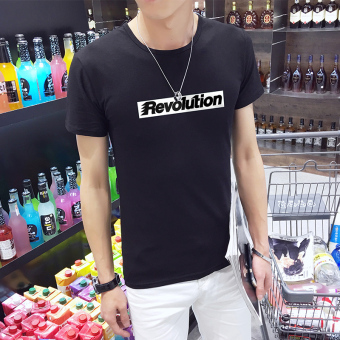 Ulzzang Korean-style printed round neck Short sleeve Top T-shirt (D608 black (collection of first shipment)) (D608 black (collection of first shipment))