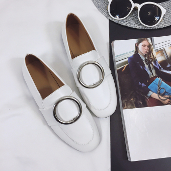 Ulzzang Korean-style ring buckle flat small leather shoes retro women's shoes (Leather white)