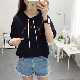 Ulzzang Korean-style white women's short sleeved thin hoodie cotton hooded T-shirt (Black hooded button printed lettered) (Black hooded button printed lettered)