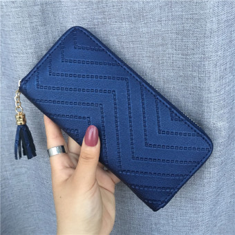 Ulzzang Shishang female Japanese and Korean style big capacity clutch bag New style women's wallet (Sapphire Blue)