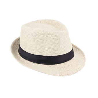 Unisex Fedora Trilby Hat Cap Straw Panama Style Packable Travel Sun Hat Beige