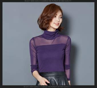Versatile mesh solid color New style base shirt (Purple) (Purple)