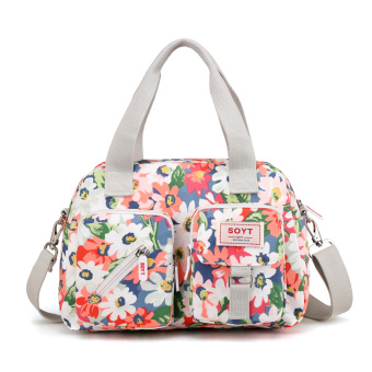 Versatile New style canvas bag shoulder women's bag (Colorful flower)