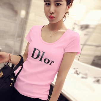 Versatile New style Korean-style white T-shirt Top (561 (pink)) (561 (pink))