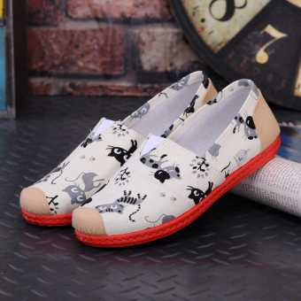 Versatile non-slip canvas shoes low-top shoes (New style T-3 off-white cat)