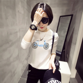 Versatile outerwear student slimming LOOESN white T-shirt Korean-style small shirt (White [949 Bicycle models])