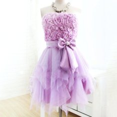 Pearl Top Tailor Made Princess Layered Free Cut Bridesmaid Dress Party Evening Banquet Dnd Tube Dress Purple On Sale Designer Clothes Cover 80