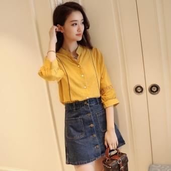 White shirt female 2017 spring New style Han Fan loose wild student lantern sleeve striped shirt female Korean-style tide (Yellow)