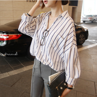 Wild loose long-sleeved V-neck Top vertical striped shirt
