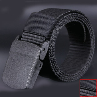 Wild-Men-Canvas-Belt-Hypoallergenic-Metalfree-Plastic-Automatic-Buckle Black