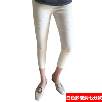 Women's Korean-style Fleece-lined Stretch High Waist Cropped Pants Color Varies (White multi-hole seven points Models)