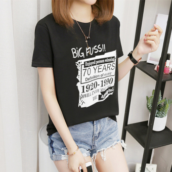 Women's Korean-style Plus Size Slimming Short Sleeve T-Shirt (218-70 English-black)