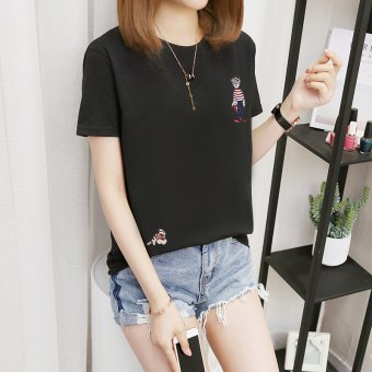 Women's Korean-style Plus Size Slimming Short Sleeve T-Shirt (308 embroidery the-black)