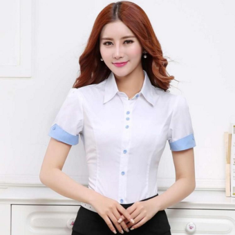 Women's Korean-style slimming plus-size short-sleeve blouse