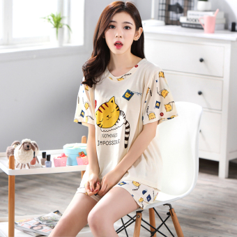 Women's Large-size Short Sleeve Short Pants Pure Cotton Pajamas Set (Y5503)