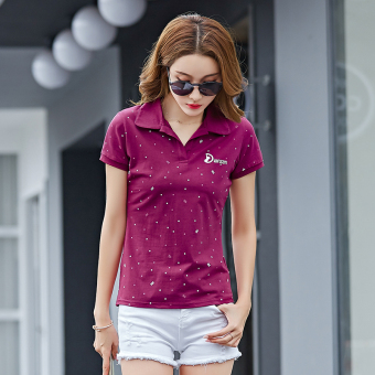 Women's short sleeved New style Plus-sized casual Top T-shirt (Wine red color)