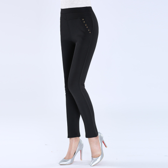 Women's Thin High Waist Bottom Pants Color Varies (Black)
