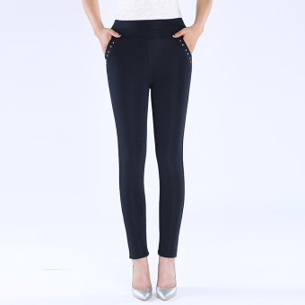 Women's Thin High Waist Bottom Pants Color Varies (Dark blue color)