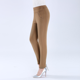 Women's Thin High Waist Bottom Pants Color Varies (Khaki)