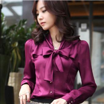 Women's bowknot stand collar chiffon long-sleeve blouse