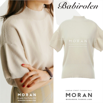 Women's Korean-style loose-fitting half-turtleneck droppedshoulders knitted short-sleeve t-shirt