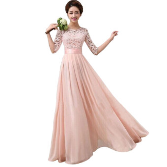 YBC Women Elegant Long Dress Long Sleeve Formal Evening Party Gown Pink