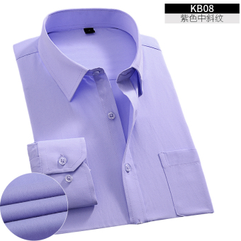 Yi Wen men's Slim fit career-inch solid color long-sleeved white shirt (KB08 purple) (KB08 purple)