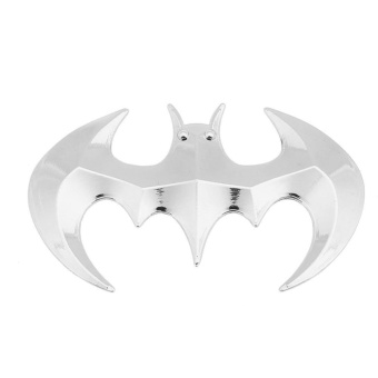1 Pair 3D Solid Metal Bat Car Exterior Accessory Styling Stickers(Silver) - intl