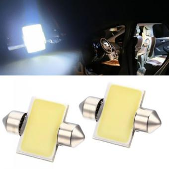2PCS 31mm 12-SMD 12V COB LED Car Interior Dome Map Light BulbsDE3175 White LED