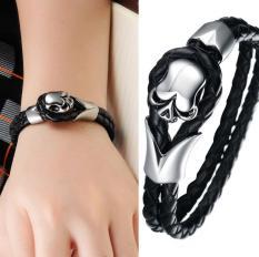 Colorful Rainbow Leather Bracelets For Men & Girls Fashion Source · Bracelets Fancy King Leoric Human Skeleton Punk Hip hop Leather Bracelet for Men 20 5cm ...